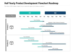 Half Yearly Product Development Flowchart Roadmap Themes