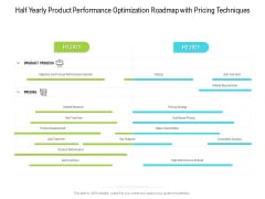 Half Yearly Product Performance Optimization Roadmap With Pricing Techniques Graphics