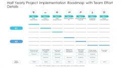 Half Yearly Project Implementation Roadmap With Team Effort Details Ideas
