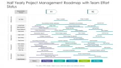 Half Yearly Project Management Roadmap With Team Effort Status Elements