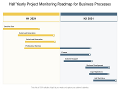 Half Yearly Project Monitoring Roadmap For Business Processes Icons
