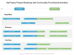 Half Yearly Project Roadmap With Commodity Promotional Activities Graphics