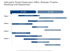 Half Yearly Project Supervision Office Example Timeline Roadmap With Assessment Demonstration