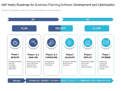 Half Yearly Roadmap For Business Planning Software Development And Optimization Inspiration