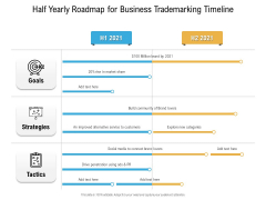 Half Yearly Roadmap For Business Trademarking Timeline Slides