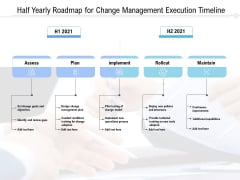 Half Yearly Roadmap For Change Management Execution Timeline Professional
