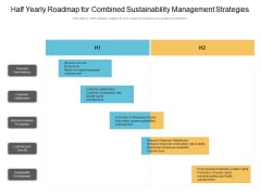 Half Yearly Roadmap For Combined Sustainability Management Strategies Template