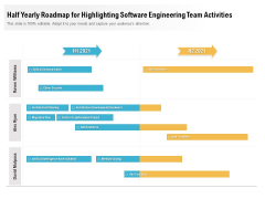 Half Yearly Roadmap For Highlighting Software Engineering Team Activities Icons