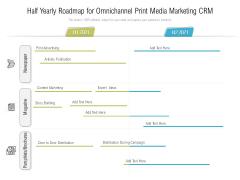 Half Yearly Roadmap For Omnichannel Print Media Marketing CRM Designs