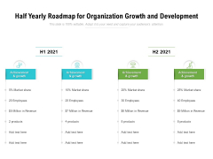 Half Yearly Roadmap For Organization Growth And Development Portrait