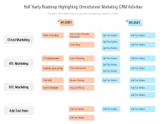 Half Yearly Roadmap Highlighting Omnichannel Marketing CRM Activities Elements