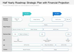 Half Yearly Roadmap Strategic Plan With Financial Projection Information