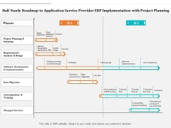 Half Yearly Roadmap To Application Service Provider ERP Implementation With Project Planning Diagrams