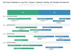 Half Yearly Roadmap To Long Term Company Trademark Building With Strategic Development Icons