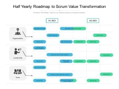 Half Yearly Roadmap To Scrum Value Transformation Icons