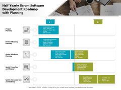 Half Yearly Scrum Software Development Roadmap With Planning Clipart