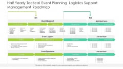 Half Yearly Tactical Event Planning Logistics Support Management Roadmap Infographics
