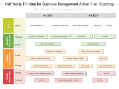 Half Yearly Timeline For Business Management Action Plan Roadmap Demonstration