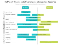 Half Yearly Timeline For Software Application Update Roadmap Icons