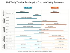 Half Yearly Timeline Roadmap For Corporate Safety Awareness Portrait