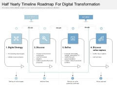 Half Yearly Timeline Roadmap For Digital Transformation Structure