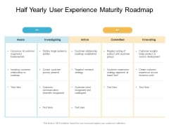 Half Yearly User Experience Maturity Roadmap Brochure