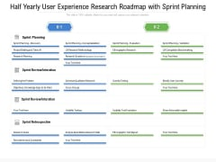 Half Yearly User Experience Research Roadmap With Sprint Planning Background