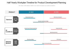 Half Yearly Workplan Timeline For Product Development Planning Icons
