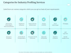 Handling Industry Analysis Categories For Industry Profiling Services Mockup PDF