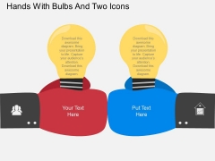 Hands With Bulbs And Two Icons Powerpoint Template