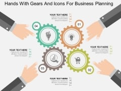 Hands With Gears And Icons For Business Planning Powerpoint Template