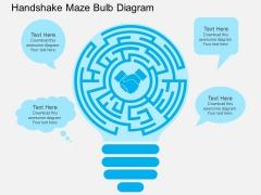 Handshake Maze Bulb Diagram Powerpoint Template