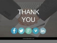 Handshake Thank You Slide With Social Media Links Powerpoint Slides