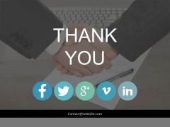 Handshake Thank You Slide With Social Media Links Powerpoint Slides