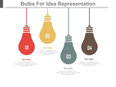 Hanging Bulbs For Business Ideas Powerpoint Slides