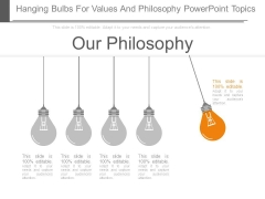 Hanging Bulbs For Values And Philosophy Powerpoint Topics