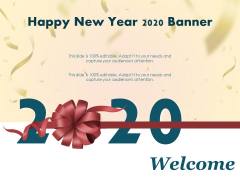 Happy New Year 2020 Banner Ppt PowerPoint Presentation Styles Graphics
