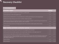 Hazard Administration Recovery Checklist Ppt Infographics Skills PDF