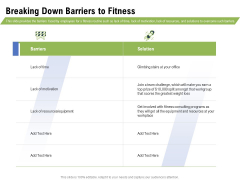 Health And Fitness Consultant Breaking Down Barriers To Fitness Icons PDF