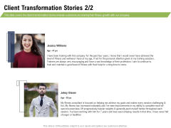 Health And Fitness Consultant Client Transformation Stories Structure PDF