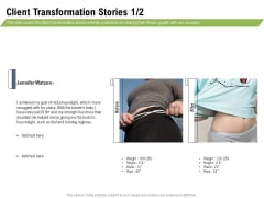 Health And Fitness Consultant Client Transformation Stories Teamwork Demonstration PDF