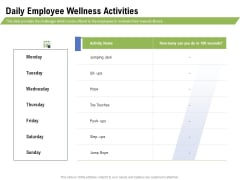 Health And Fitness Consultant Daily Employee Wellness Activities Ideas PDF