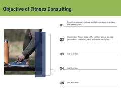 Health And Fitness Consultant Objective Of Fitness Consulting Demonstration PDF