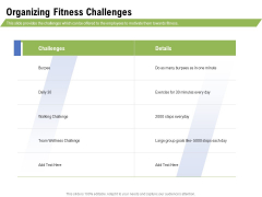 Health And Fitness Consultant Organizing Fitness Challenges Inspiration PDF