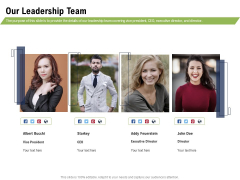 Health And Fitness Consultant Our Leadership Team Mockup PDF