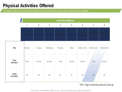 Health And Fitness Consultant Physical Activities Offered Diagrams PDF