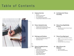 Health And Fitness Consultant Table Of Contents Rules PDF