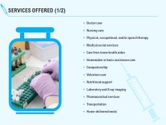 Health Care Services Offered Ppt Model Master Slide PDF