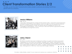 Health Client Transformation Stories Ppt Pictures Example Topics PDF