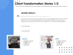 Health Client Transformation Stories Teamwork Ppt Model Clipart PDF